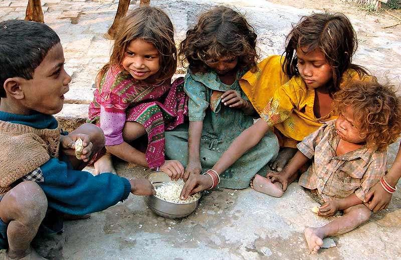 feeding food to poor
