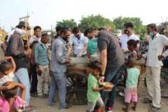 food distribution in slum area